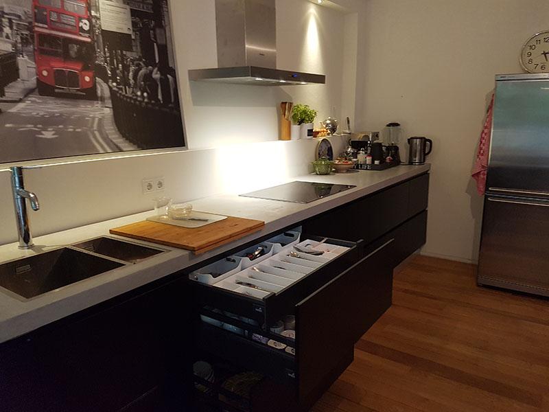 Keuken Zwart Blad : Intia zwarte keuken betonnen blad intia