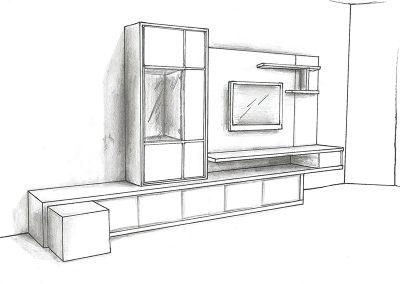 Ontwerp tv meubel schets
